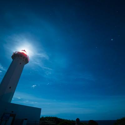 「平安名埼灯台(夜景)」の写真素材