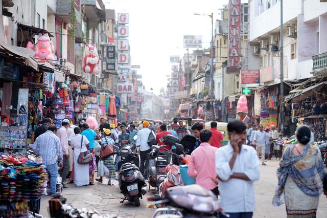 ニューデリー(インド)の商店街
