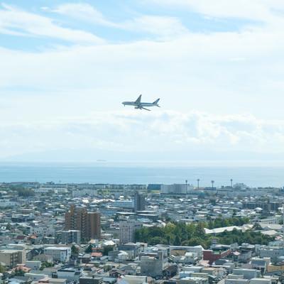 市街地の上空を旋回する旅客機の写真
