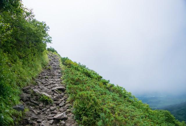 登山道と斜面の写真