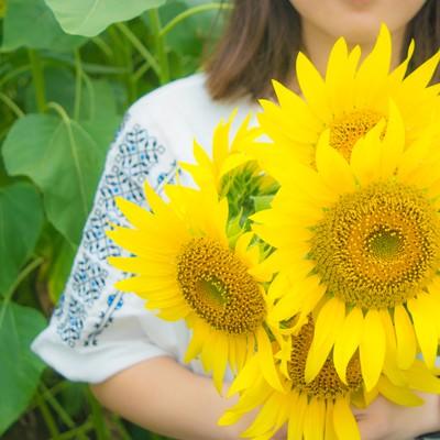 「向日葵の花を持った女性」の写真素材