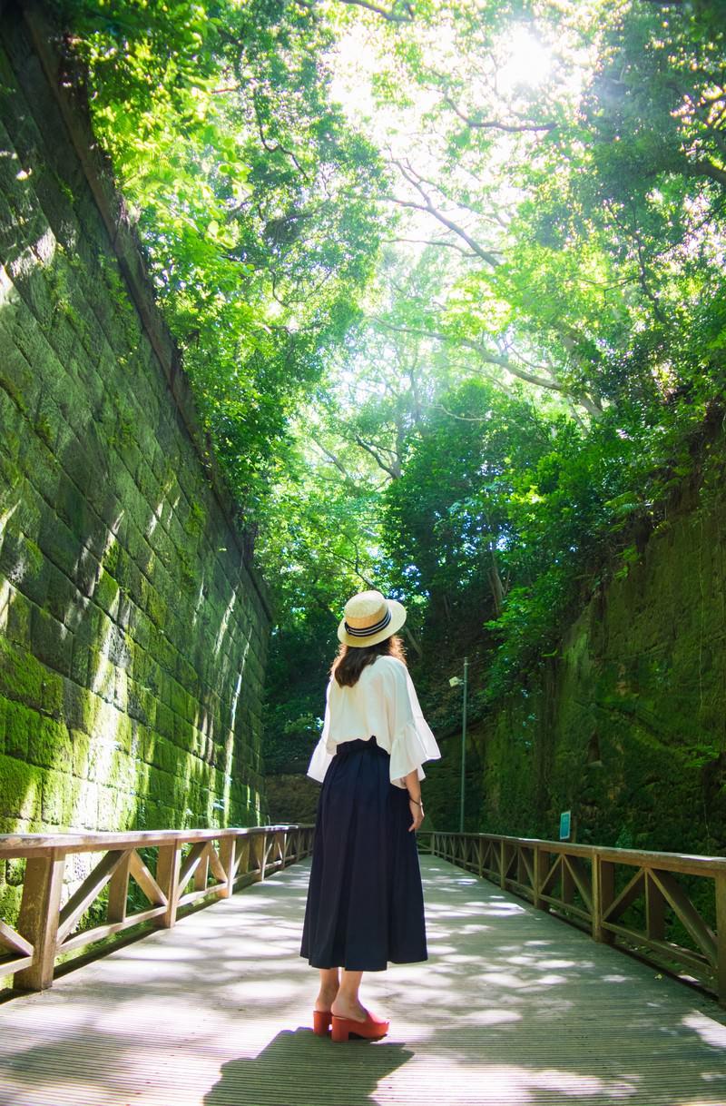 「猿島の緑に包まれて木漏れ日を見上げる女性」の写真