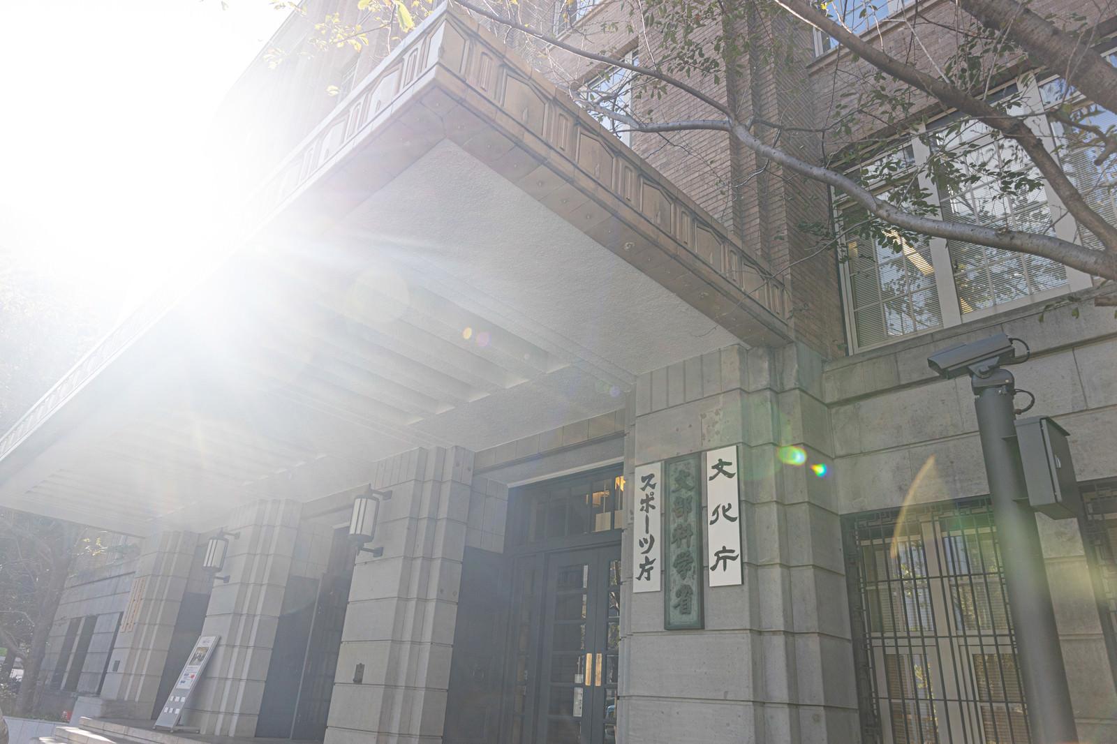 「日が射す文部科学省」の写真