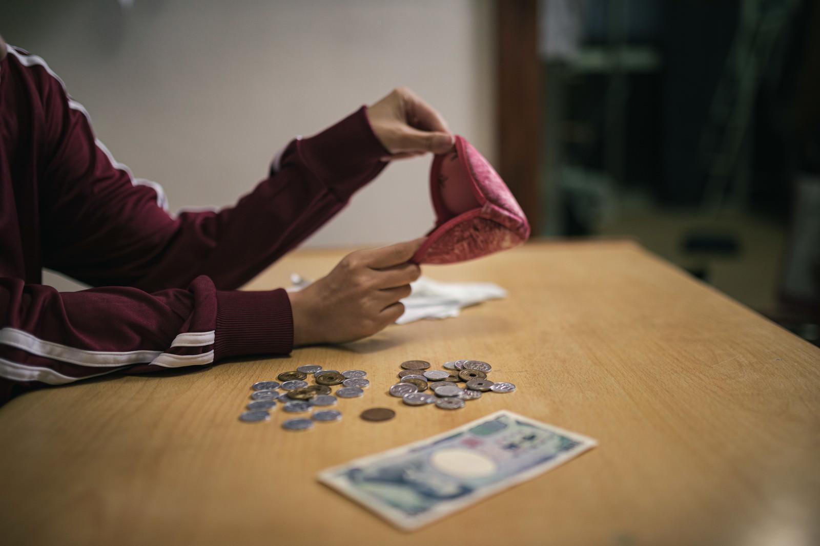 「今月の生活費はこれで全部(小銭が散らばる)」の写真[モデル:千歳]