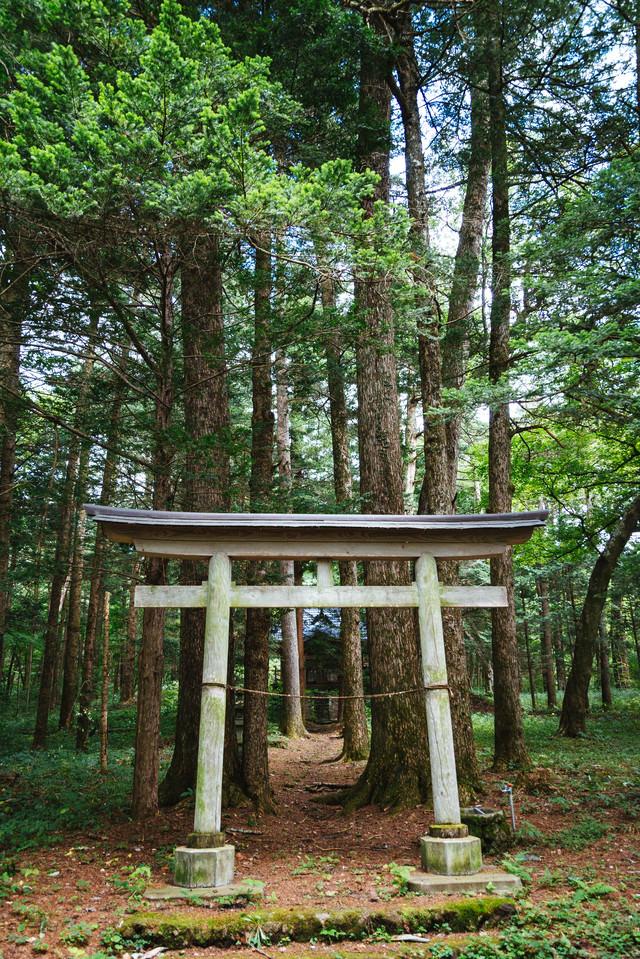 狩猟の守護神である諏訪大明神を奉斉した「狩宿諏訪神社」前の写真