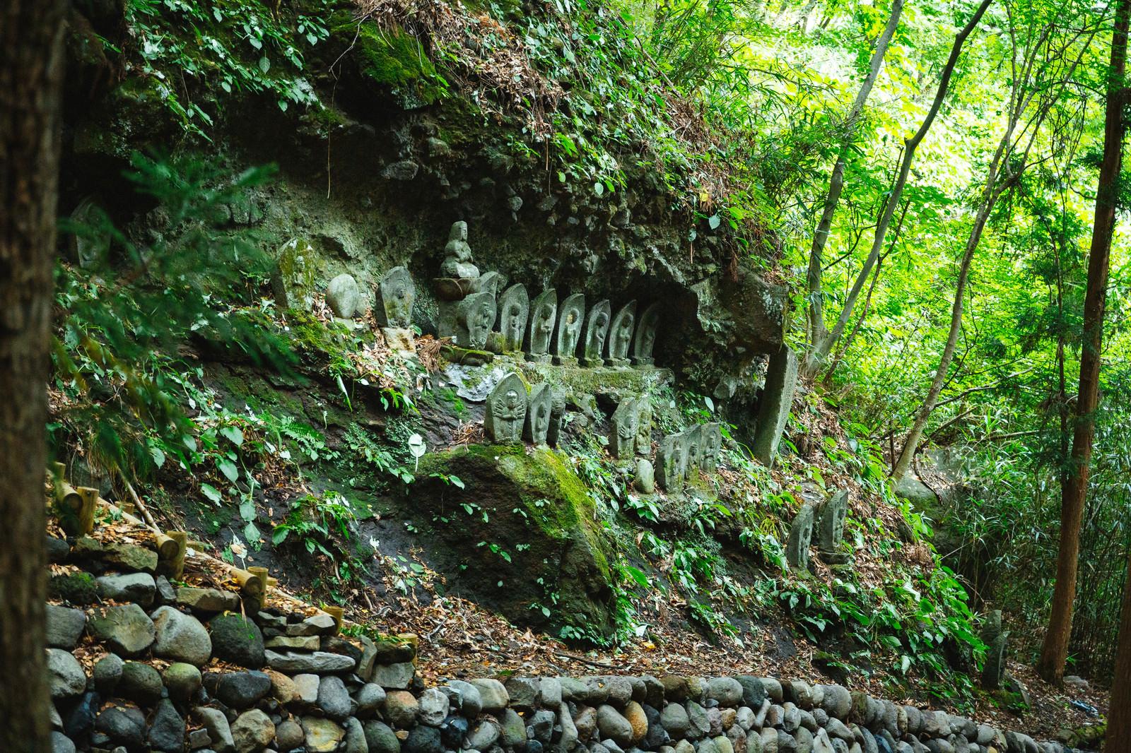 「崖に並ぶ滝沢観音石仏群」の写真