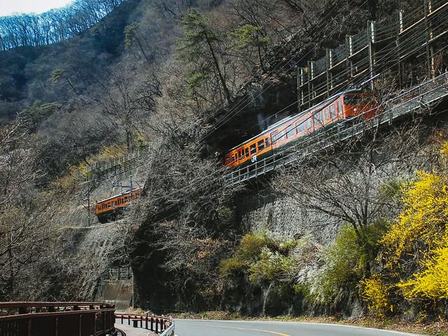 日本一短いトンネル「樽沢トンネル」を走行するJR吾妻線の写真