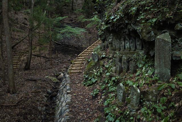 山間にある滝沢観音石仏群の様子の写真