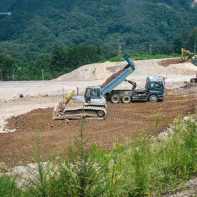 八ッ場ダムの工事風景の写真