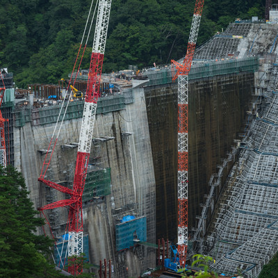 「八ッ場ダムの建設現場」の写真素材