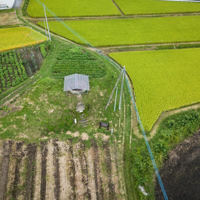 「長野原町防空監視哨(上空から)」の写真素材