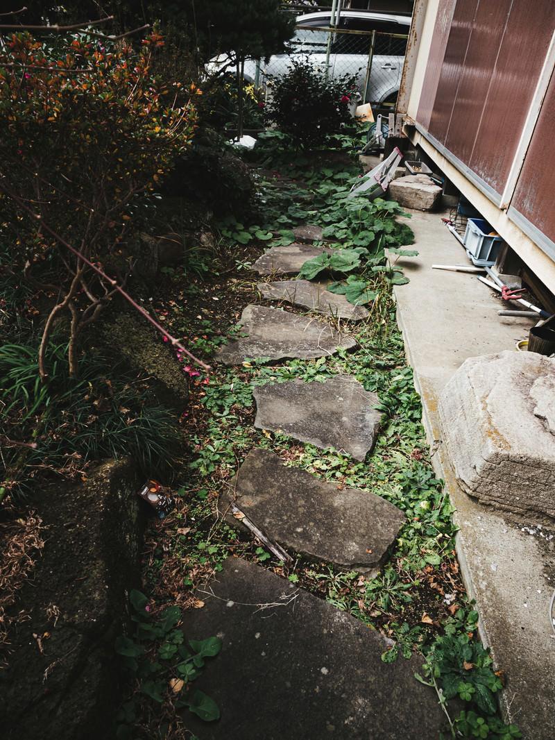 「空き家の庭と石畳」の写真