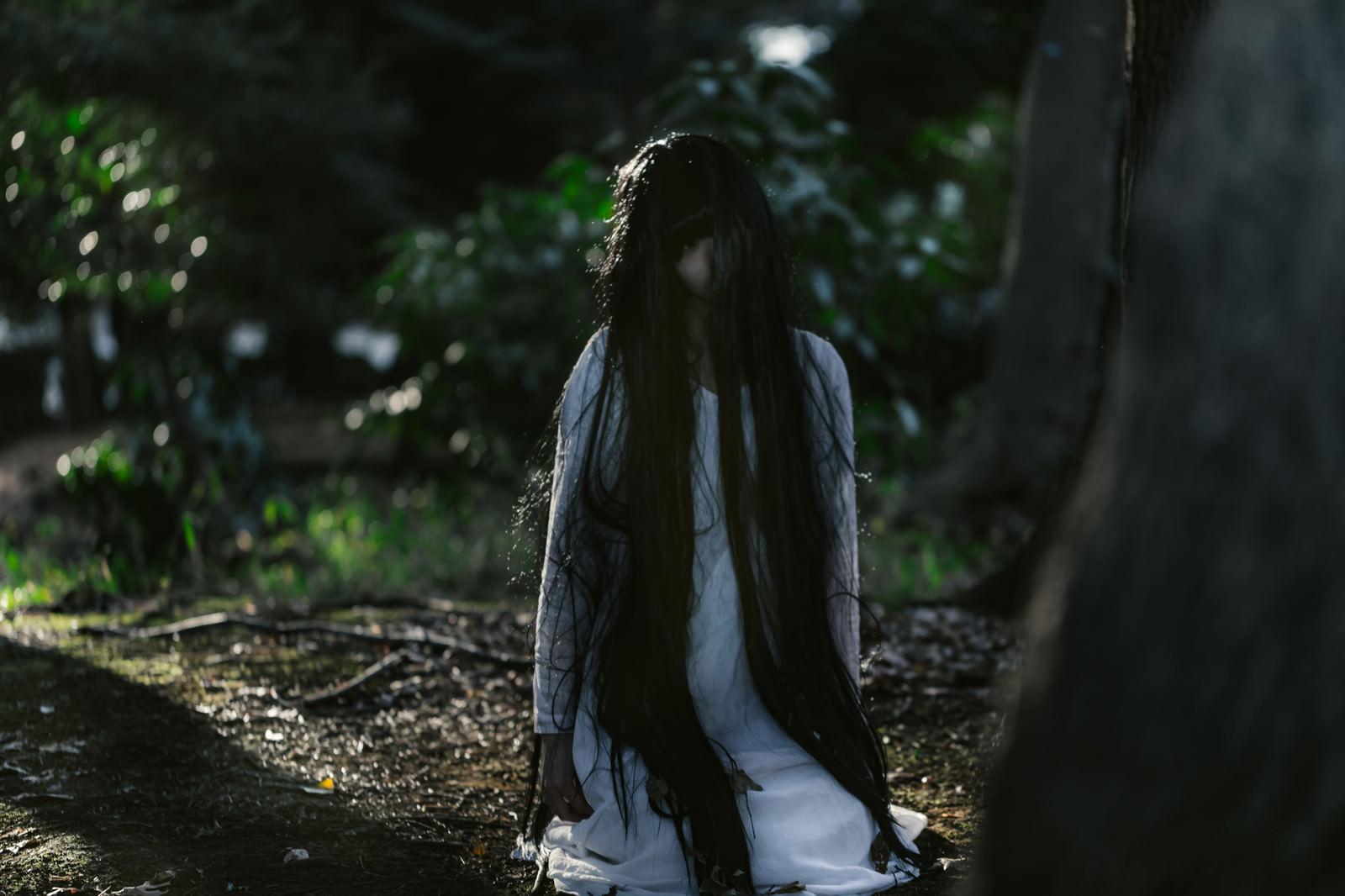 「樹海で座り込む未練を残した女性」の写真[モデル:緋真煉]