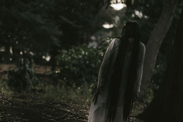 薄明るい森の中を徘徊する女性の写真