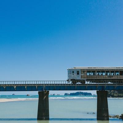 「南郷町に差し掛かった観光列車「海幸山幸」」の写真素材