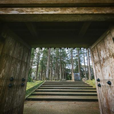 「飫肥城裏門をくぐって見える風景」の写真素材