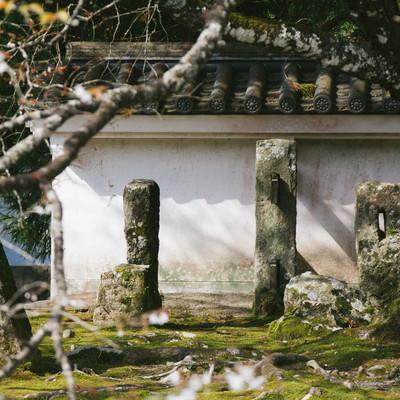 「飫肥城の塀を支える石柱」の写真素材