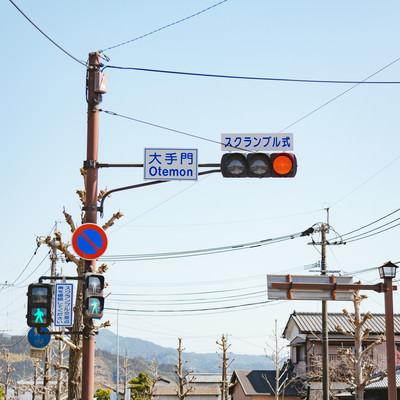大手門交差点の信号機の写真