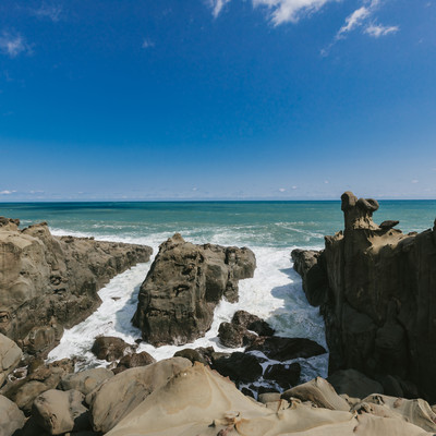 「鵜戸神宮から見える海岸の様子」の写真素材