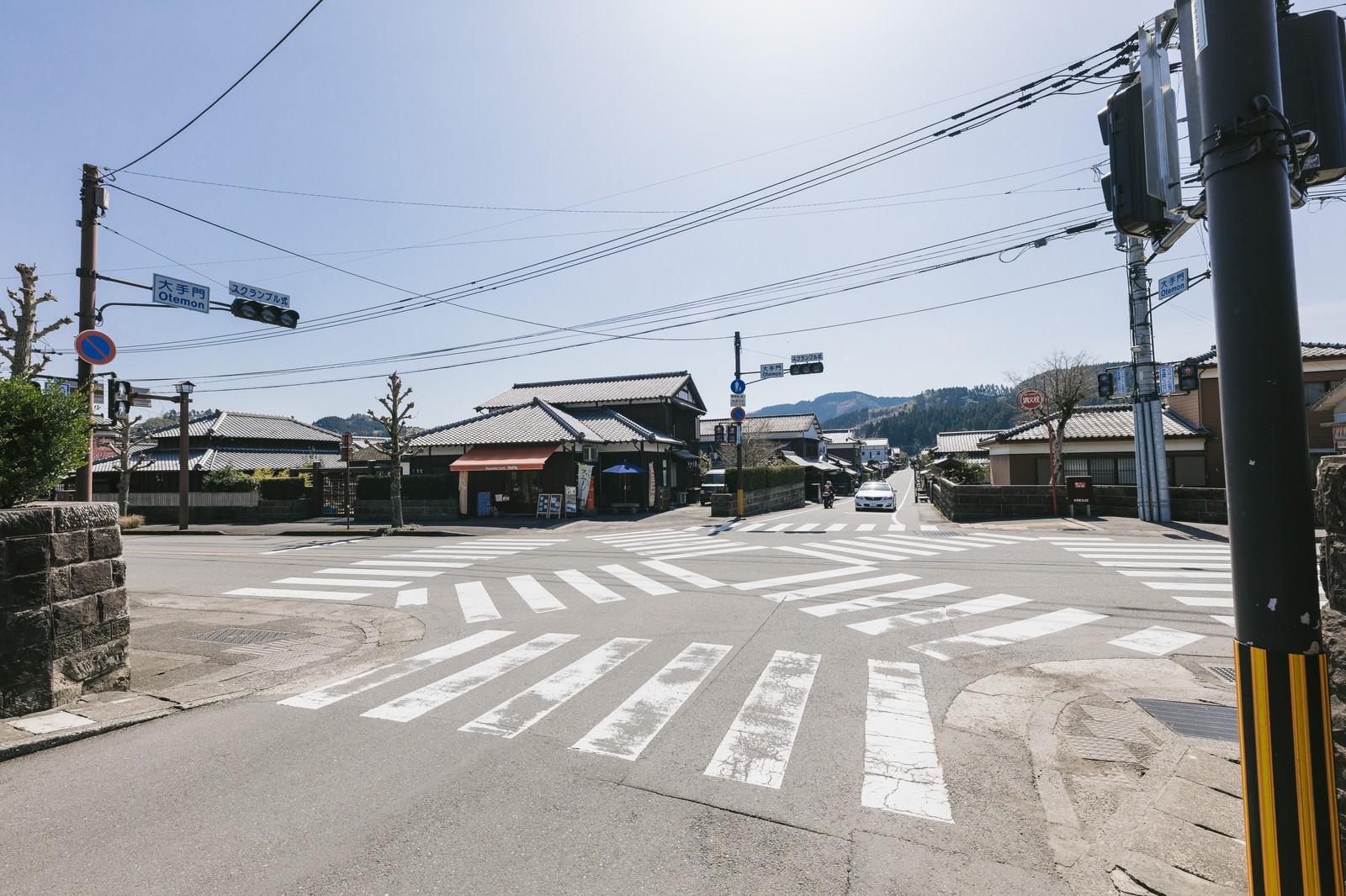 「人がいない大手門のスクランブル交差点(宮崎県日南市)」の写真