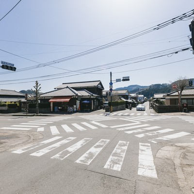 「人がいない大手門のスクランブル交差点(宮崎県日南市)」の写真素材