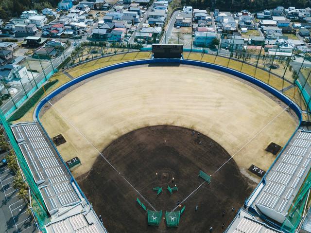 上空から南郷スタジオの様子の写真