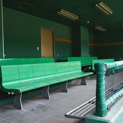 「天福球場のベンチ」の写真素材