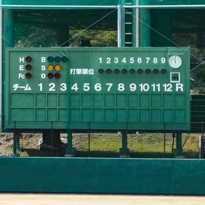 天福球場のスコアボードの写真