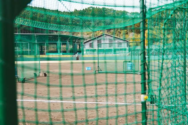 野球場で練習中(ネット越し)の写真