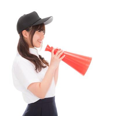 「笑みが溢れる野球部の女子マネ」の写真素材