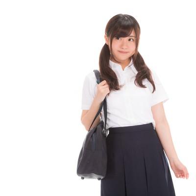 「そわそわする女子高生」の写真素材