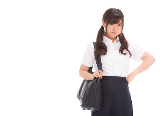「激おこ女子高生」のフリー写真素材