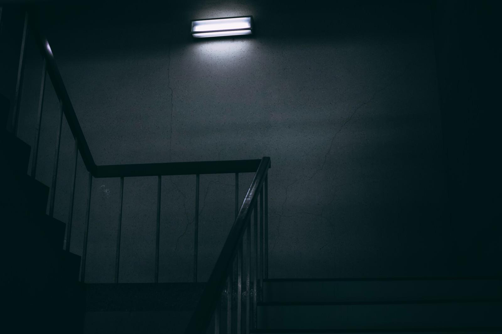 「一人称視点で眺める仄暗い階段」の写真