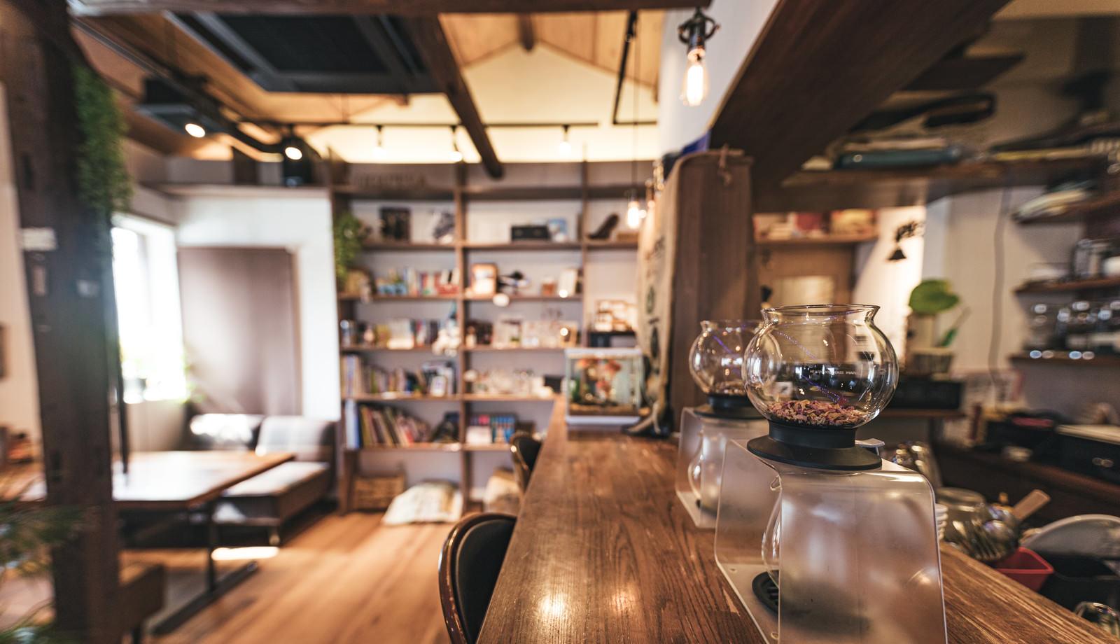 「ティードリッパーが並ぶカフェのカウンター席」の写真