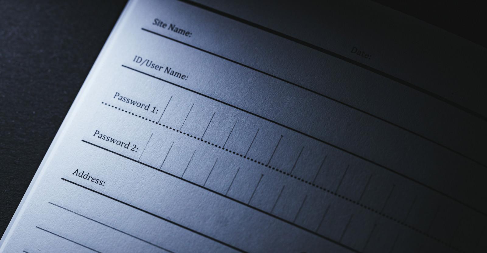 「未記入のパスワード管理帳」の写真