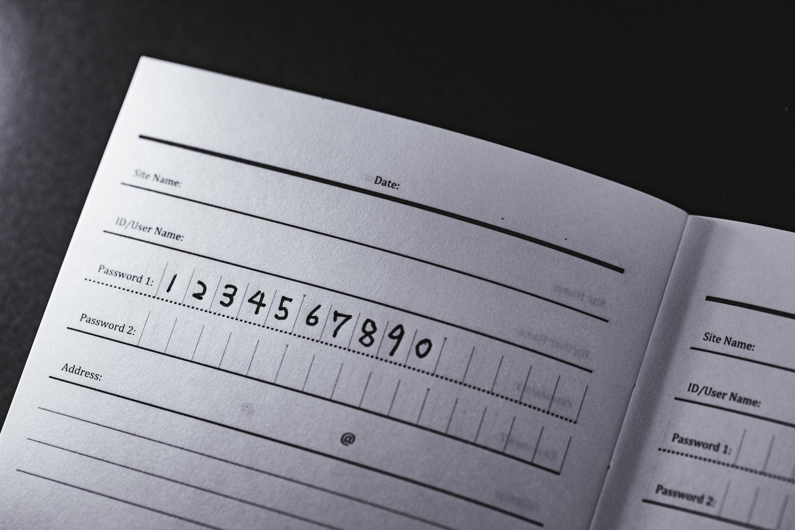 「パスワードの文字列が「1234567890」」の写真