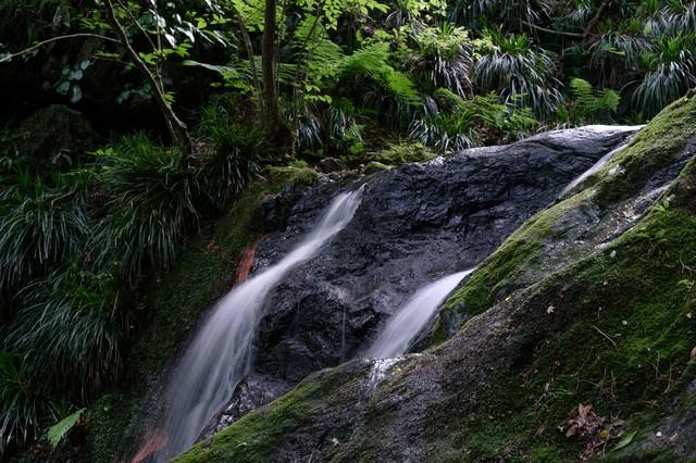 岩を削る滝の流れの写真