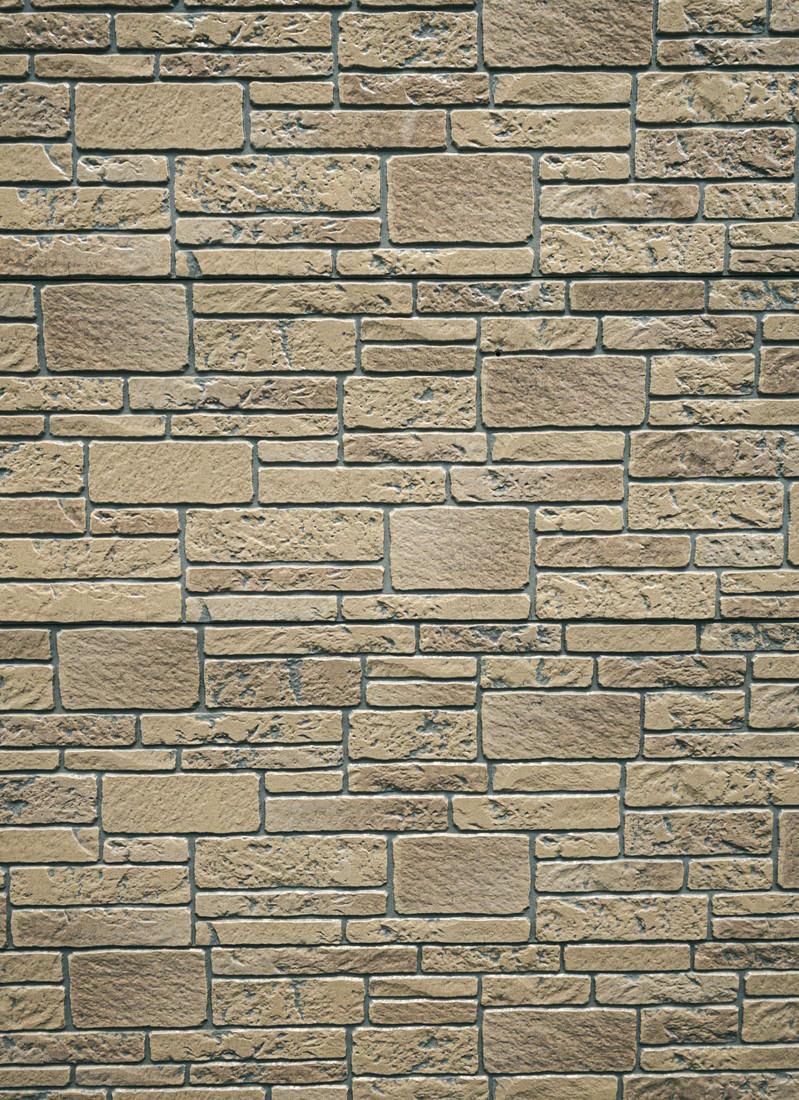 「様々な大きさの長方形タイルが並んだ壁(テクスチャ)」の写真