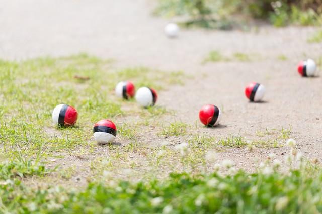 近くに住む紅白ボールが次第に集まってきたの写真