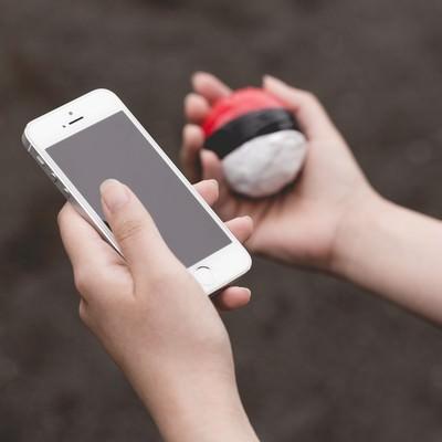 「近くにいる野生の紅白ボールを探すプレイ」の写真素材