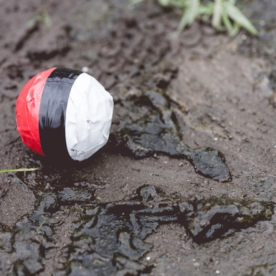 「水辺(泥)付近に落ちてた紅白ボール」の写真素材