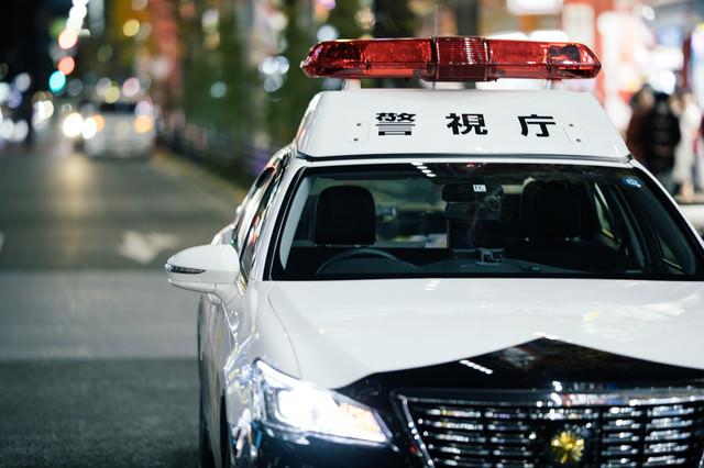 夜のネオンと停車中の警察車両の写真