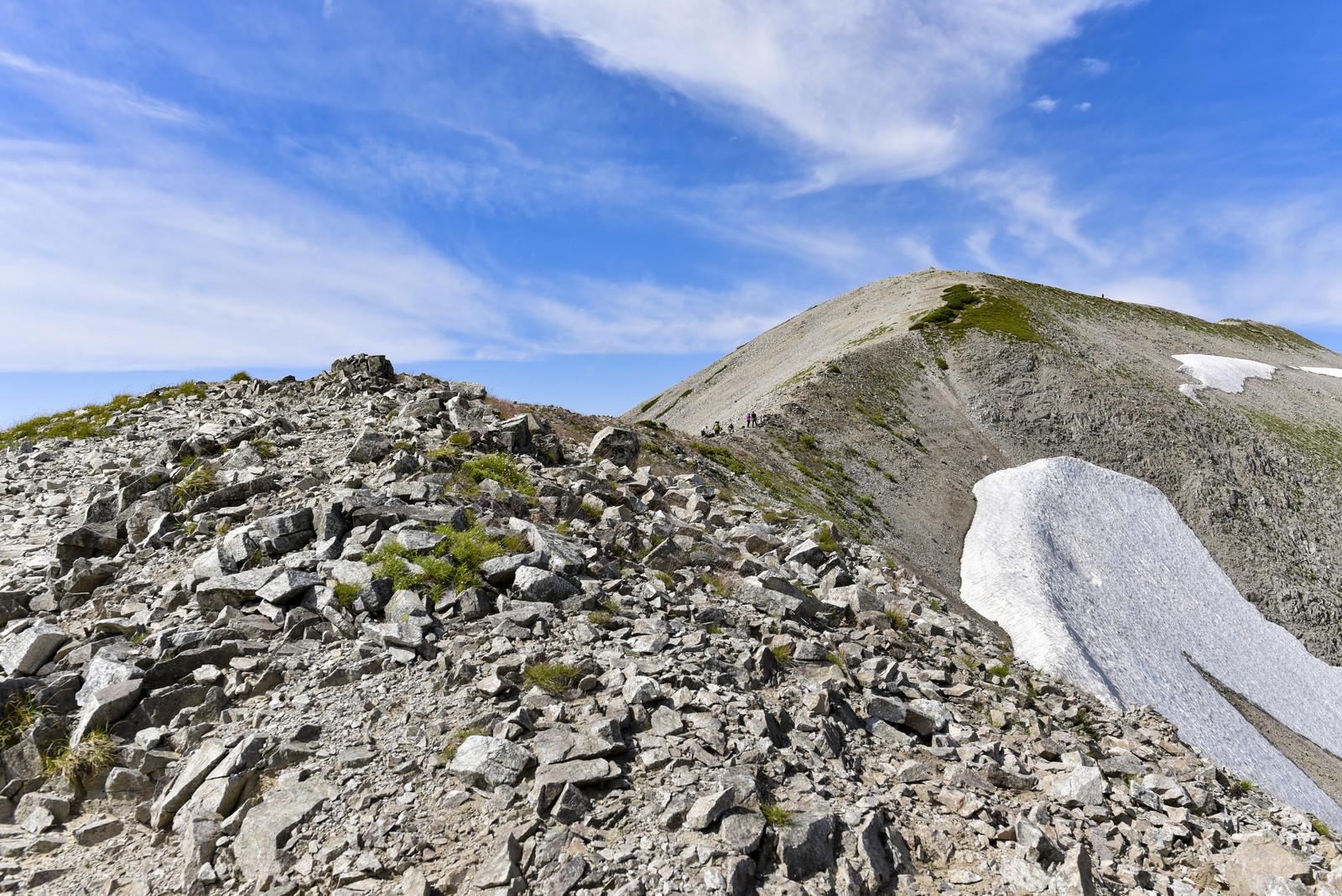 「別山へと続くなだらかな稜線(立山)」の写真