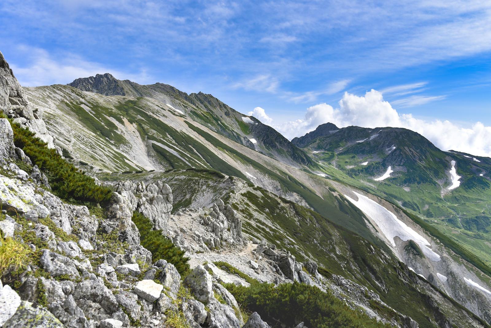 「別山方面から見る立山雄山と浄土山方面の景色」の写真