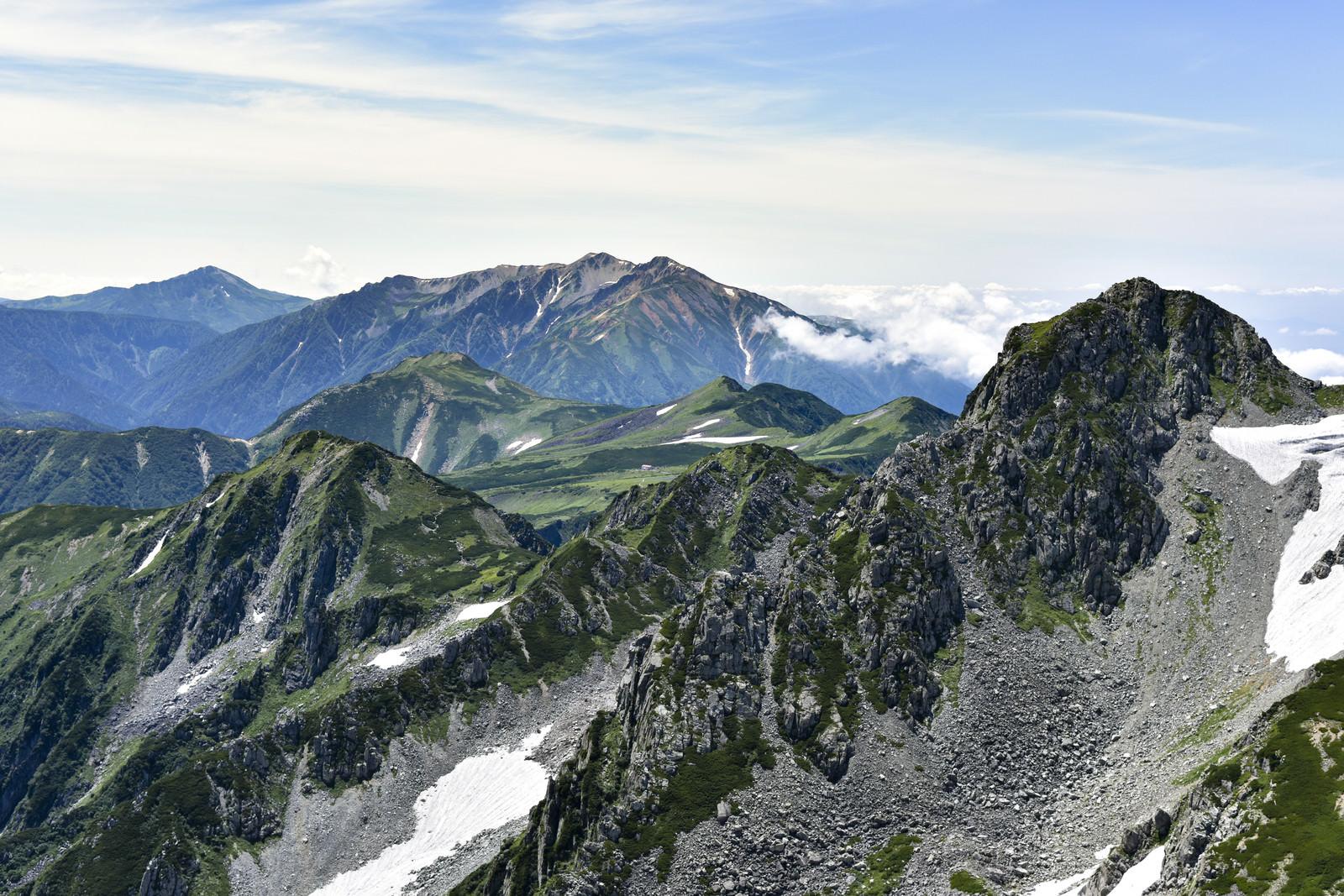 「浄土山の奥に見える薬師岳(立山)」の写真