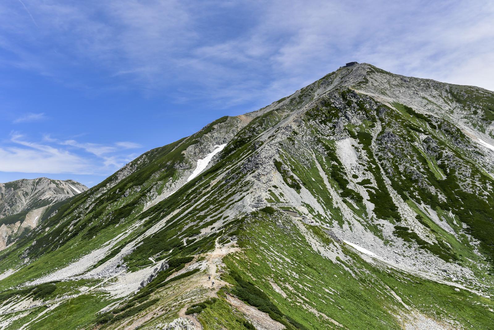 「浄土山鞍部から見上げる立山雄山の姿」の写真