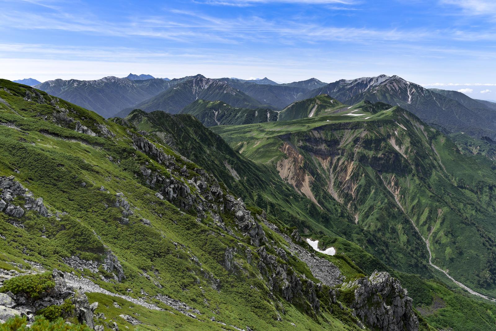 「立山浄土山から見る薬師岳方面の景色」の写真