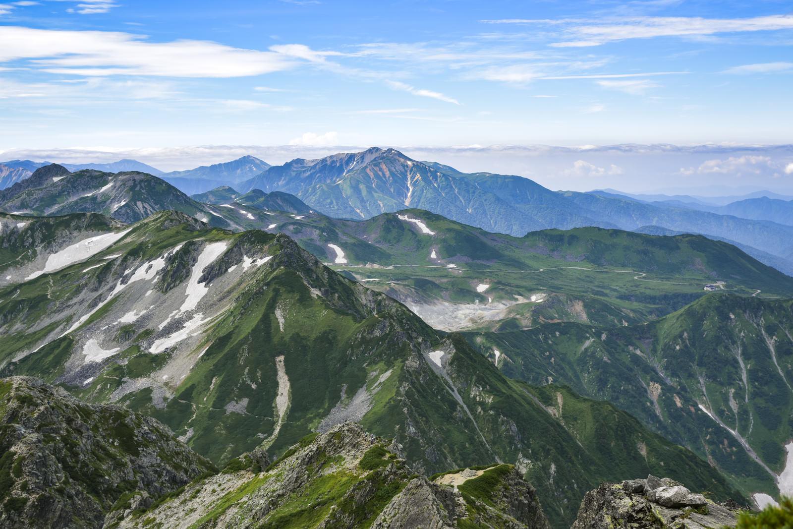 「立山室堂へと続く道の景色(剱岳)」の写真