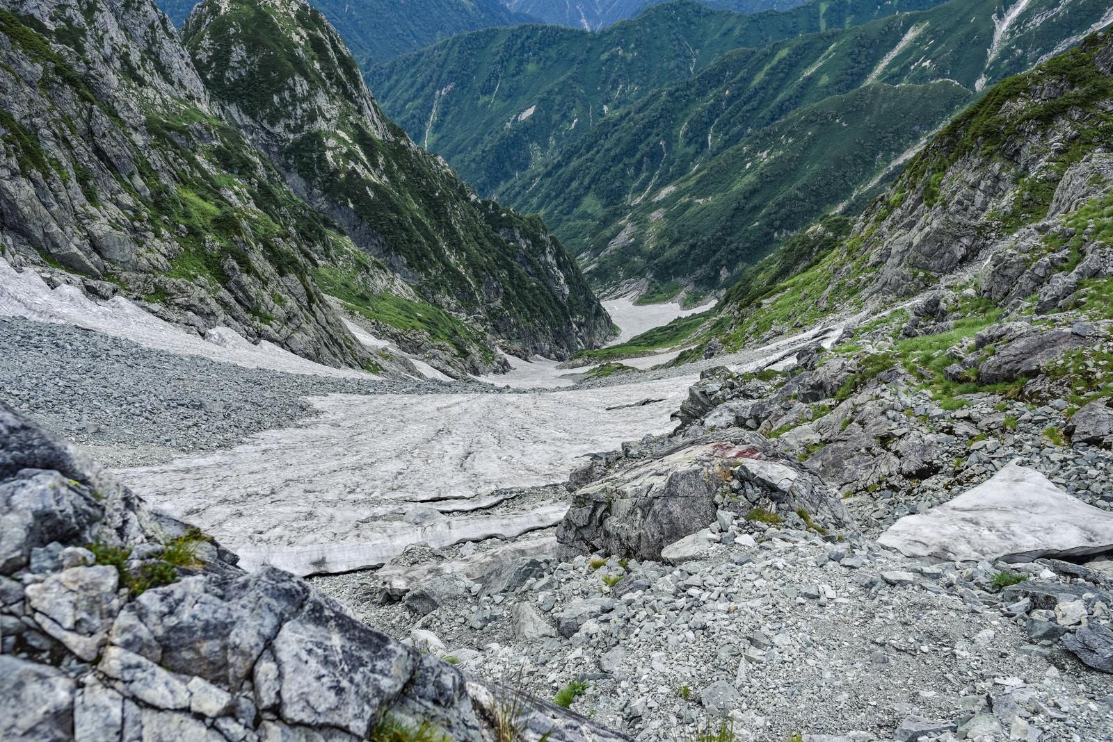 「足を滑らせたら止まりそうもない急峻な斜面(剱岳)」の写真