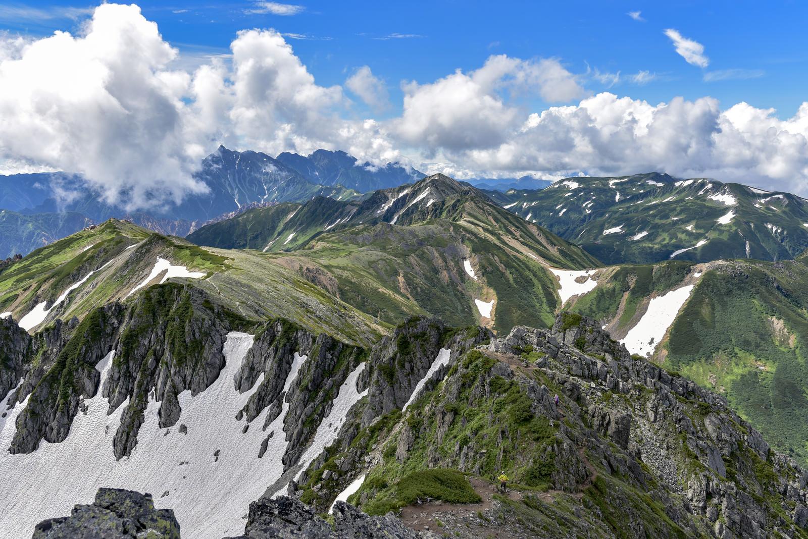 「水晶岳山頂から見る鷲羽岳と北アルプス南部の景色」の写真